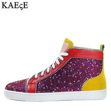 Kaeve Men Patchwork Multicolor Rhinestone Sneaker Lace-up Flat High Top Camping Shoes EU39-EU47