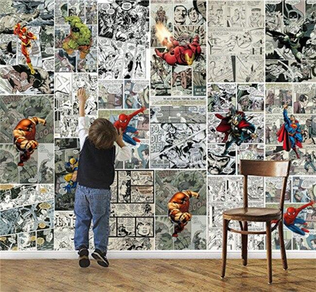 D Manga Hero Wallpaper Hand Painted Cartoon Bedroom Childrens Room Mural Restaurant Internet Cafe Theme