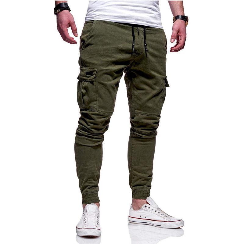 Men's Vogue Slim Fit Ankle-tied Pencil Pants Joggers Trousers Male Casaul Drawstring Side Pockets Harem Pants Solid Sportswear