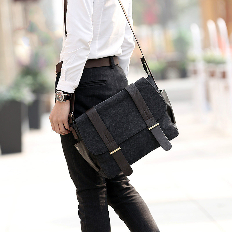 Canvas Leather Crossbody Men's Bag Travel Casual Laptop Messenger Bags Teenagers School Bags Large C