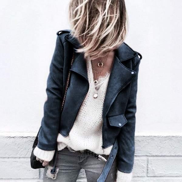 dd1387065 Women's Moto Suede Faux Leather Aviator Jacket Black Short Sheepskin Bomber  Female Coat Add Shrug Plus Size 5XL Biker Jackets