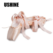 Women Pink Ballet Pointe Ballet Dance Shoes With Ribbons CMJ-PABC Free Shipping Ballet Zapatos Flat Shoes