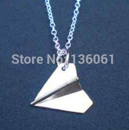 Vintage Silvers Punk Heart Necklace Owl Bird Paper Plane Airplane Tie Mask Pendants Handcuf Necklace Women Women Jewelry image