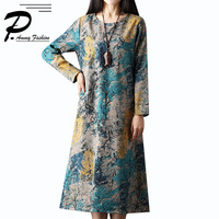 Plus Size Fleece Warm Retro Floral Print Long Dresss Ladies Oversized Linen &Fleece voguees new Loose Sleeve Loose Tunics