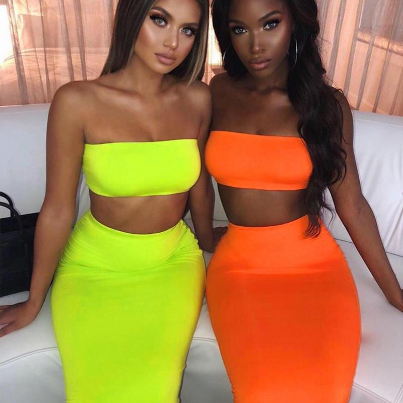 SKMY Neon Green Crop Tops And High Waist Slim Skirt Two Piece Set 2019 Summer Women New Club Outfits Pink Beach