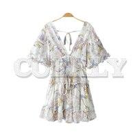 CUERLY women chiffon ruffles floral mini dress bow tie sashes back zipper flare sleeve female casual dress A line vestidos