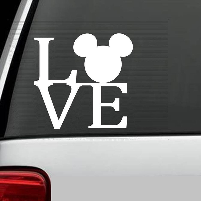 MICKEY MOUSE EARS LOG Sticker Note Bumper Sticker Decal Car window Premium Quality die cut vinyl decal 4'' White Free shipping