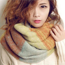 Winter Fashion Girls Tartan Scarf Women Poncho Bandana Plaid Scarf Designer Acrylic Basic Shawls Women Brand Mohair Ring Scarves