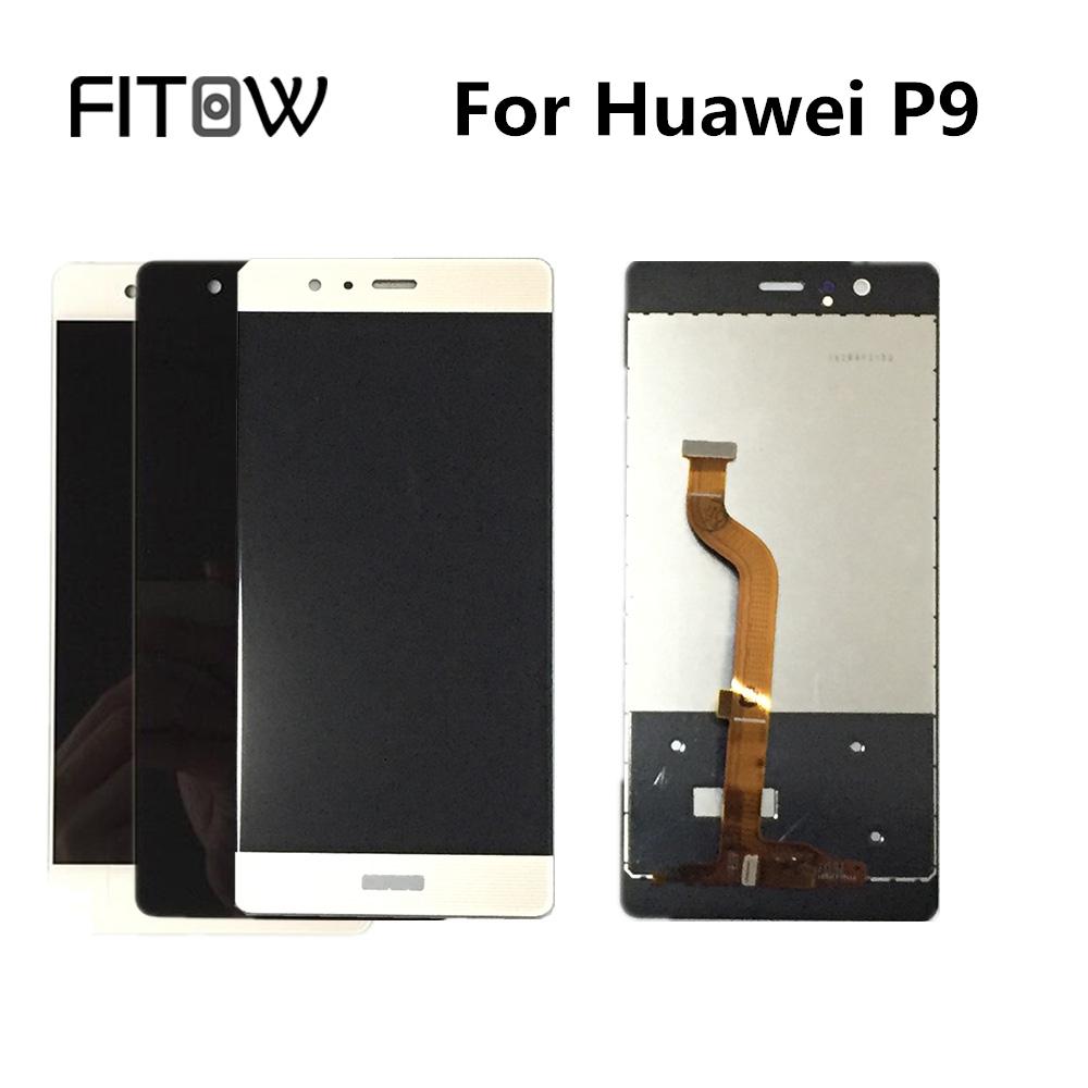 Prix pour Fitow Marque Grade AAA 100% Testé Pour Huawei P9 EVA-L09 EVA-L19 EV LCD Affichage à L'écran Tactile Digitizer Assemblée Panneau Remplacement