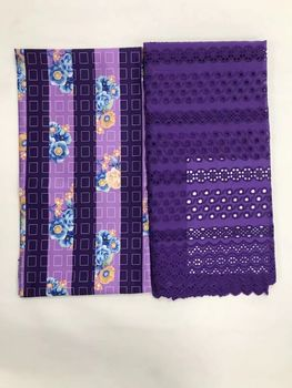 2.5Yards Most popular purple african cotton fabric and 2.5Yards smooth korea chiffon satin lace material for dress LG10-4