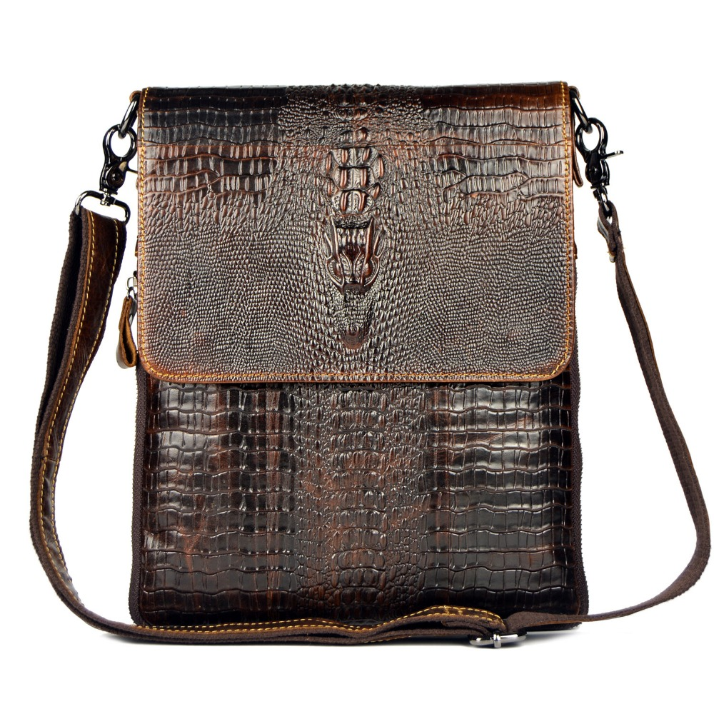 First Layer Cow Skin 100% Genuine Leather Bag For Men Crocodile Style Men's Business Messenge Bag Tablet PC handbag