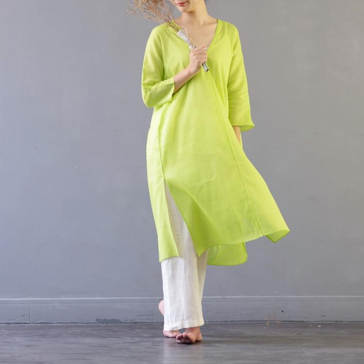 Ramle D'une Vintage Seule Pièce V Fluide Vert Robe Lâche Obscène 2017 Midguts Automne Femelle cou CtrhQsdx