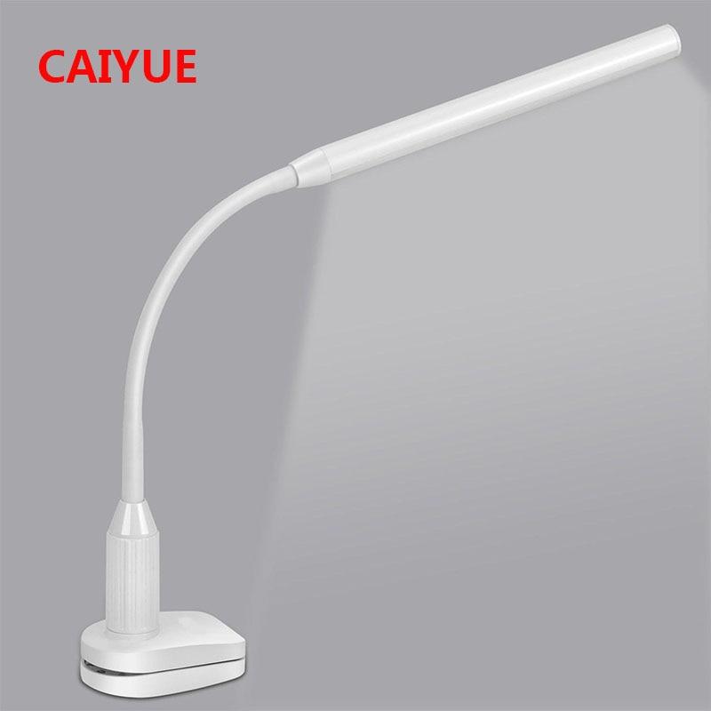 Proteção dos olhos LED lâmpada de Mesa Lâmpada de Estudo Lâmpada de Mesa Braçadeira Clipe escritório Luz Stepless Regulável Flexível USB Sensor de Interruptor de Toque de Controle