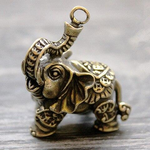 bronze dinheiro sorte elefante auspicioso ornamentos anel chave animal pingente chaveiro ferramentas multi edc anel chave