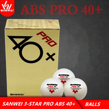 SANWEI Table Tennis Ball 3-star ABS 40+ PRO seamed New material plastic poly ITTF Approved ping pong balls tenis de mesa цена