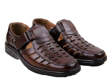 Free Shipping 2017 Summer Brand New Fashion Hollow Soft Leather Sewing Men Sandals Brown/Black Wholesale Men Flat Shoes CX004