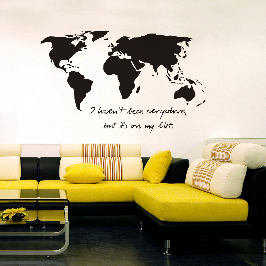 DCTOP My Heart Was Made To Travel World Map Wall Stickers Bedroom ...