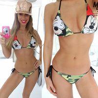 Bikini 2016 New Women Sexy Cartoon Swimwear Beachwear Bikini Set Push Up Padded Swimsuit Maillot De
