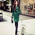 Original 2016 Brand Vestidos Autumn Winter Plus Size Sequined Bow Slim Waist Casual Vintage Dark Green Dress Women Wholesale