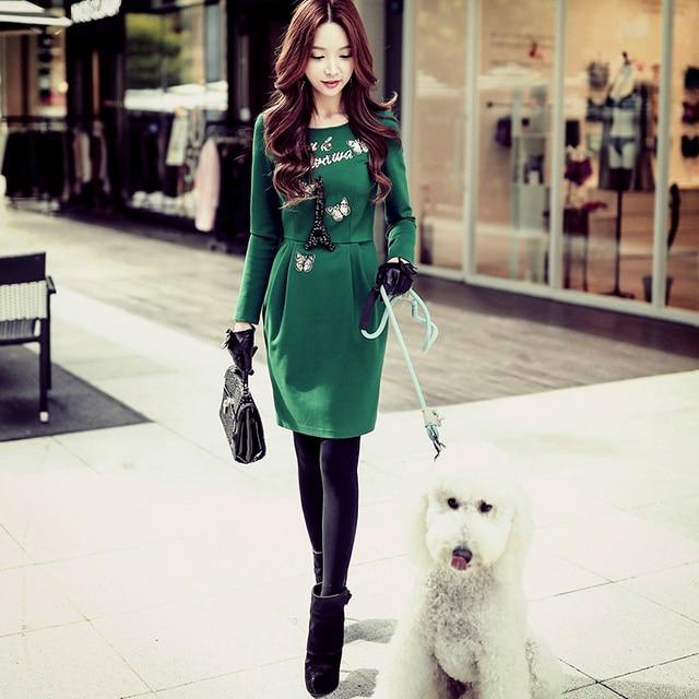 Vestido verde invierno