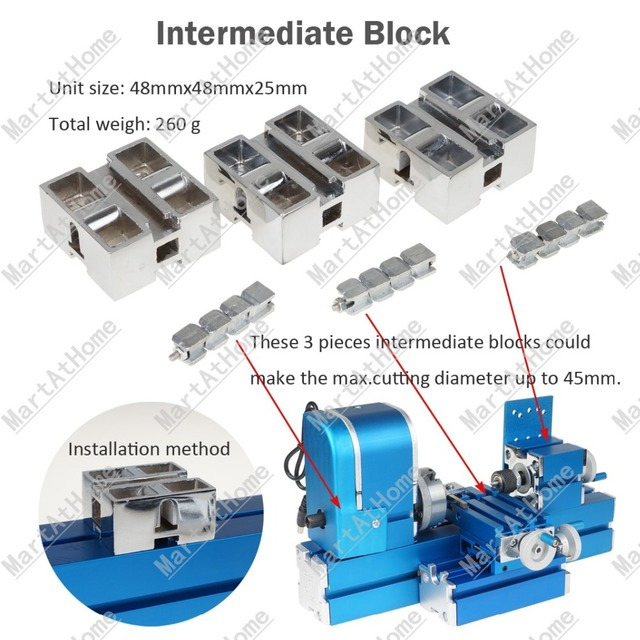 Mini Woodworking Lathe Intermediate Block Increase Max.cutting Diameter to 45mm from 20mm