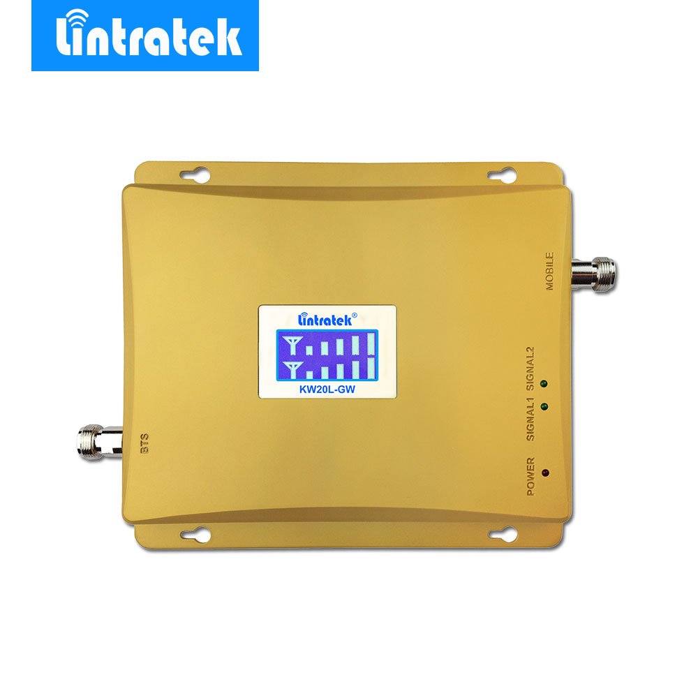 Lintratek LCD Display 3G W-CDMA 2100MHz + GSM 900Mhz Dual Band Mobile Phone Signal Booster GSM 2G 3G UMTS 2100 Signal Repeater-