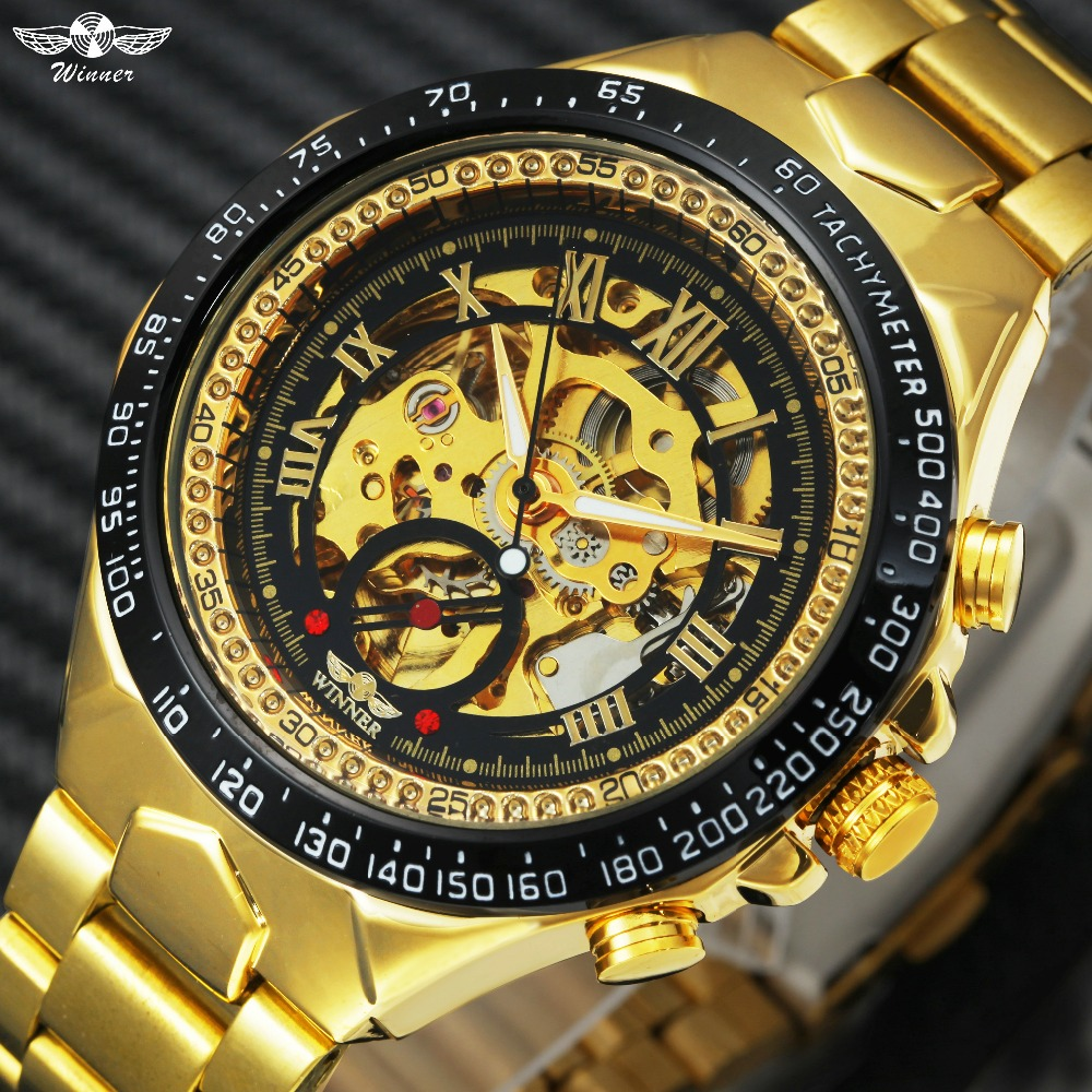 2018 WINNER Men Gold Watches Automatic Mechanical Watch Male Skeleton Wristwatch Stainless Steel Band Luxury Brand Sports Design men gold watches automatic mechanical watch male luminous wristwatch stainless steel band luxury brand sports design watches