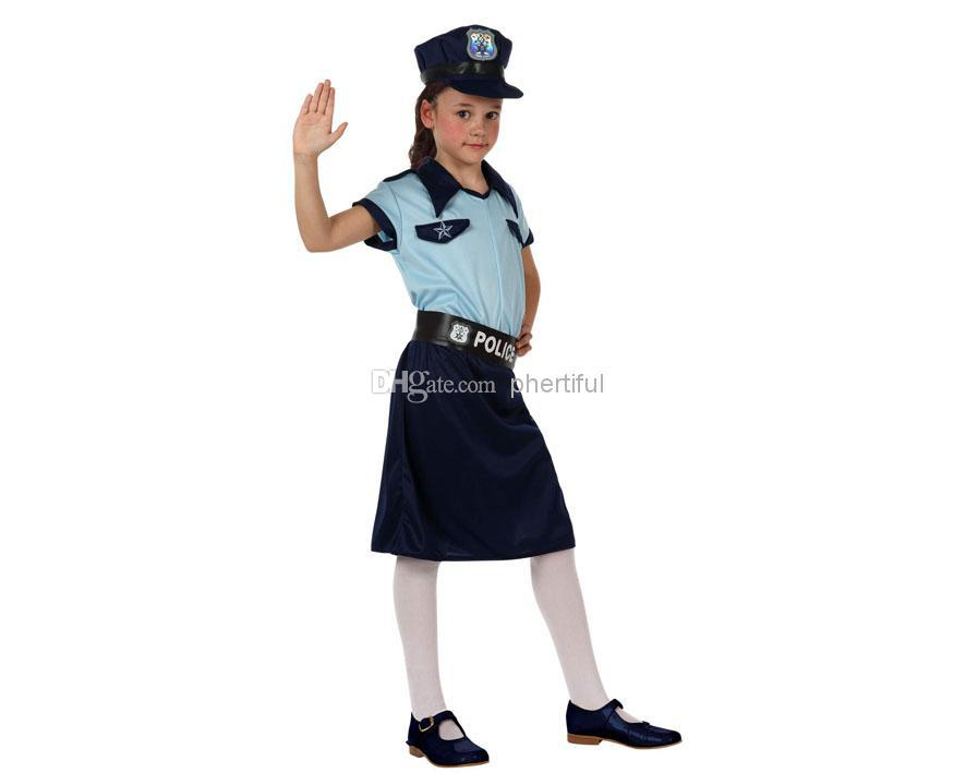 wholesale 2016 new style carnival cosplay costume party clothing for kids knitted police girl skirts costumes blue color - Girls Cop Halloween Costume
