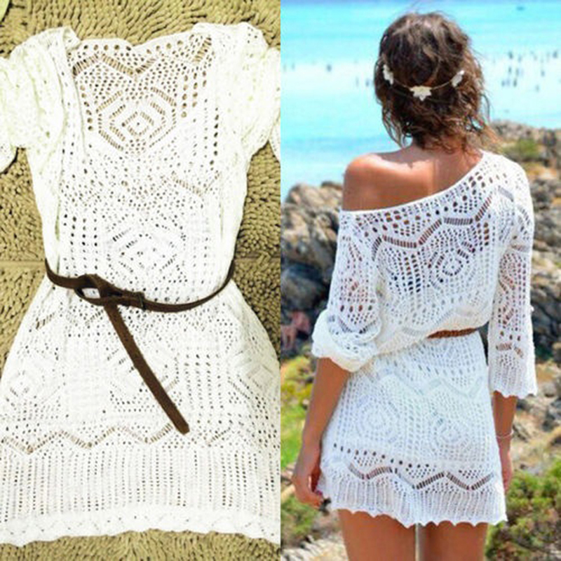 New Sexy Lace Hollow Knit Beach Dress Swimwear Crochet Beach Mini Dress Round Neck White Women Dress(China)