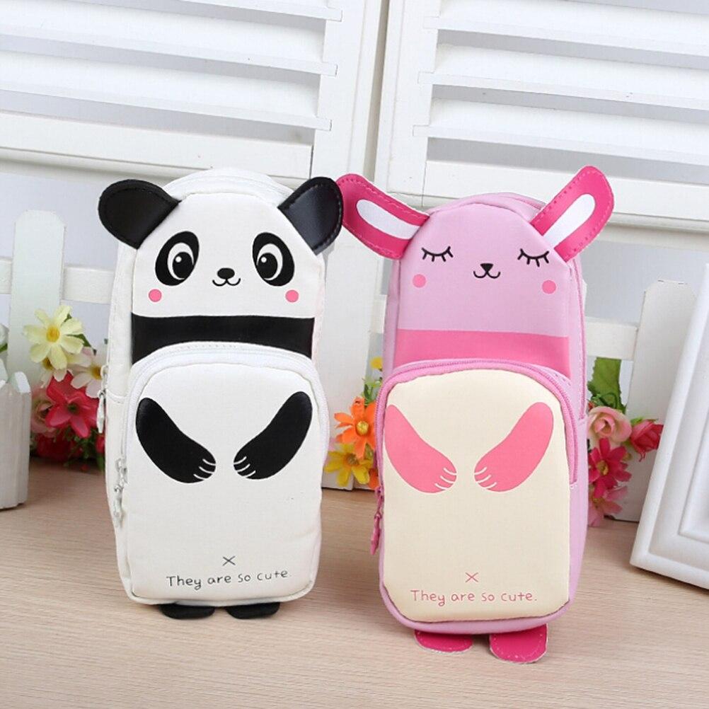 100% Wahr 1 StÜck Multifunktionale Kawaii Kosmetiktaschen Fällen Studenten Schreibwaren Panda Kaninchen Bleistift Taschen Große Kapazität Pu
