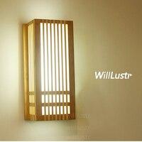 Светодиодный настенный светильник из натурального бамбука настенная деревянная лампа в японском стиле освещение для гостиной, ресторана,