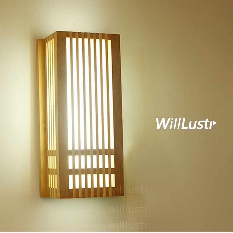 Natural Bamboo Wall Sconce wood wall lamp Japan style lighting living room restaurant cafe bedroom hotel hall Izakaya light wall sconce copper wall lamp 3w led lamp glass lampshade light living room restaurant cafe bedroom hotel hall decoration light