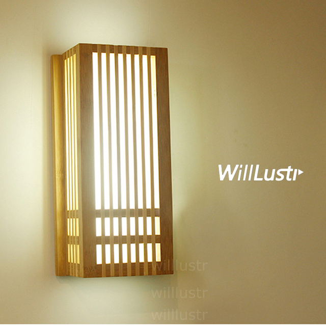 Natural Bamboo Wall Sconce Wood Lamp An Style Lighting Living Room Restaurant Cafe Bedroom Hotel