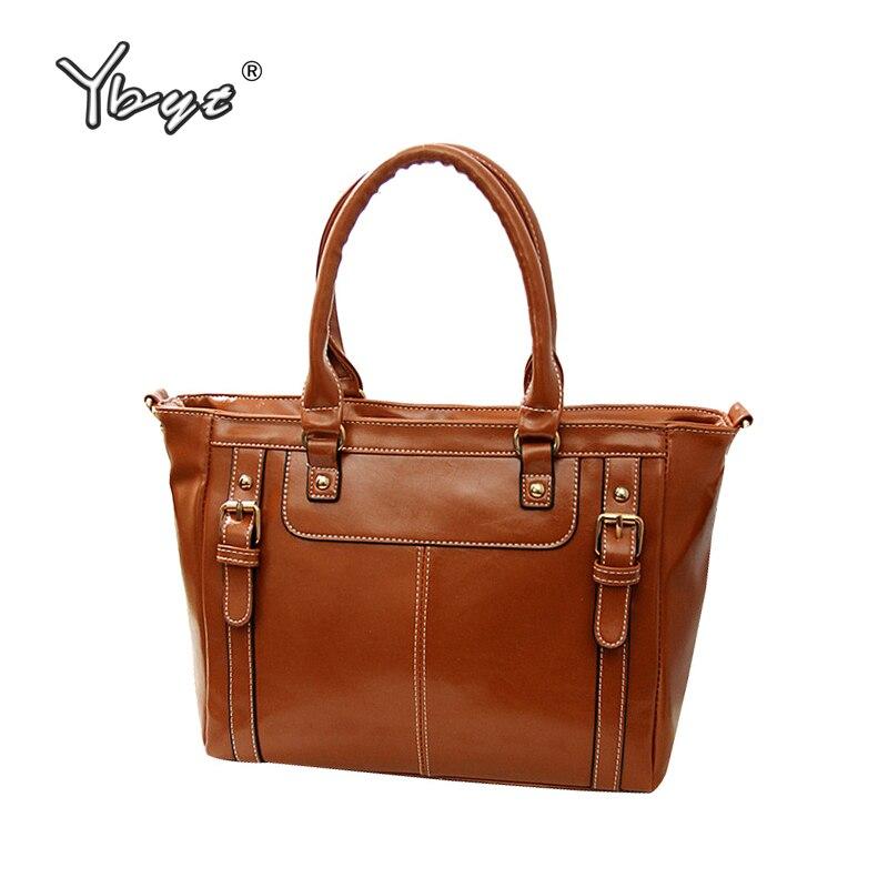 YBYT Brand 2016 New Vintage Casual Glossy PU Leather Handbag Hotsale Ladies Shopping Bag Simple Shoulder