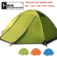 Flytop 4season tent!3persons aluminum pole double layer double door windproof stormproof professional camping outdoor tent