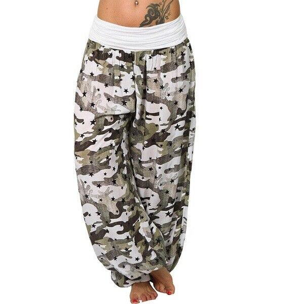 2019 Summer Women Bohemian Long   Pants   Women Low Waist Camouflage Trousers Big Size Print   Wide     Leg     Pants   Fashion Seven Colours