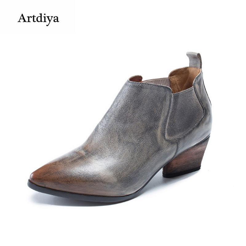 Artdiya Original Retro Genuine Leather Boots Pointed Toe Autumn / Winter Simple Elastic Band Chelsea Handmade Ankle Boots цены онлайн