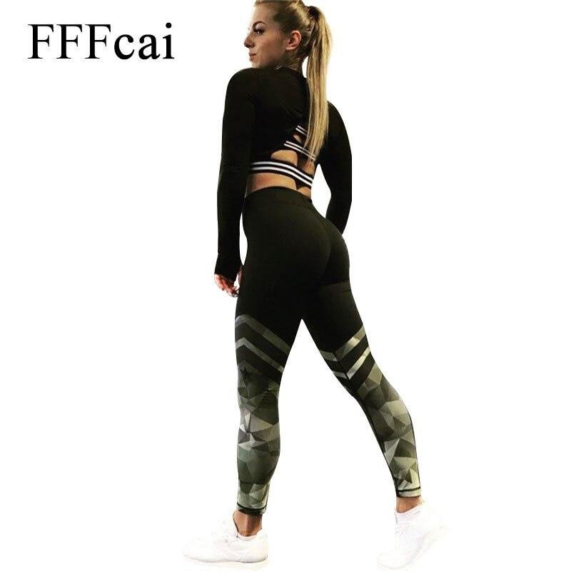 FFFcai Harajuku Push Up Fitness Legging Camouflage Stripe Bodybuilding Women's leggings Sportswear Athleisure Female Pant Women