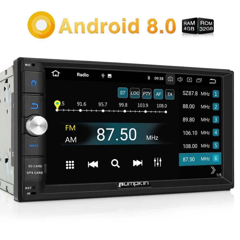 Citrouille Octa Core RAM 4G ROM 32G 2 Din 7''Android 8.0 universel autoradio Audio stéréo sans DVD GPS Navigation démarrage rapide Headunit