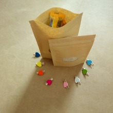 100pcs Brown Kraft Paper Bag For Gifts Bags Wedding/Candy/Tea/Food Window Stand Up With Zipper Packaging bags