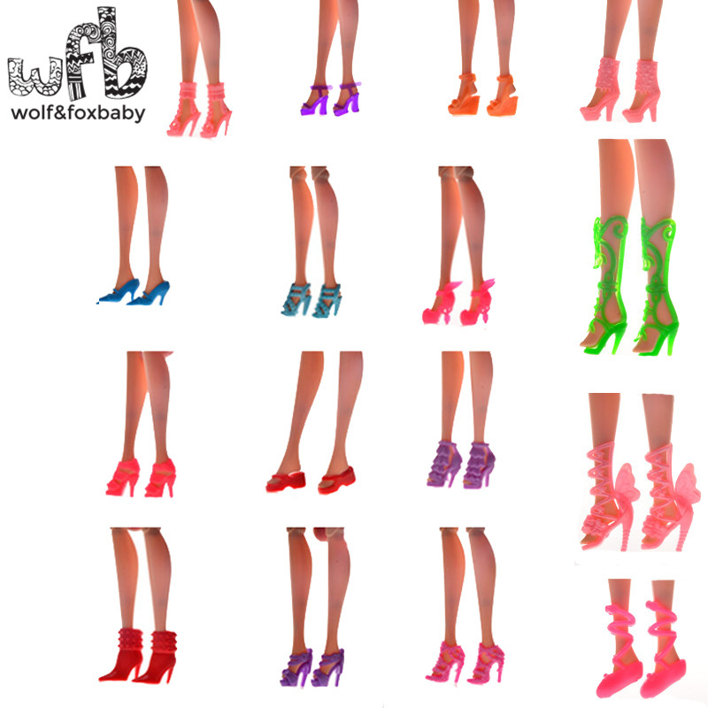 60pairs Randomly Picked Colorful Assorted Fashion Heels Sandals Boots Shoes For Dolls Accessories Baby Toys Gift