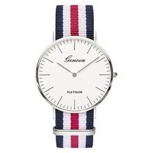 zegarki meskie 2017新しい高級ブランド男性と女性の腕時計カジュアルシンプルな複数色生地ストラップクォーツ時計montres