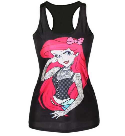 F68 summer new women sexy vest 3D Princess Print Fitness camisole casual punk galaxy tank tops Free Shipping