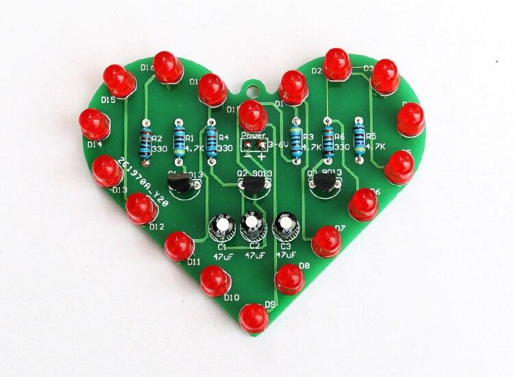 diy electronic kit set Heart-shaped LED kit Water light parts Electronic diy production skills training