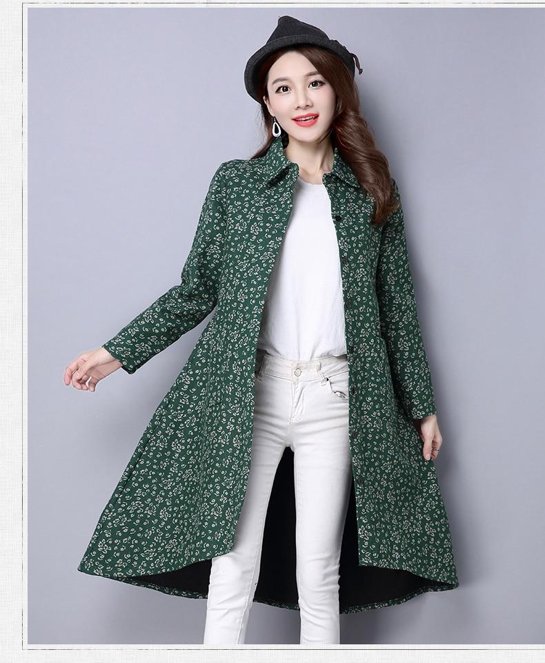 BUYKUD Vintage Shirt-Coats 2018 Autumn Winter New Long Sleeve Printed Coat Office Lady Irregular hem Women Button Linen Coats 10