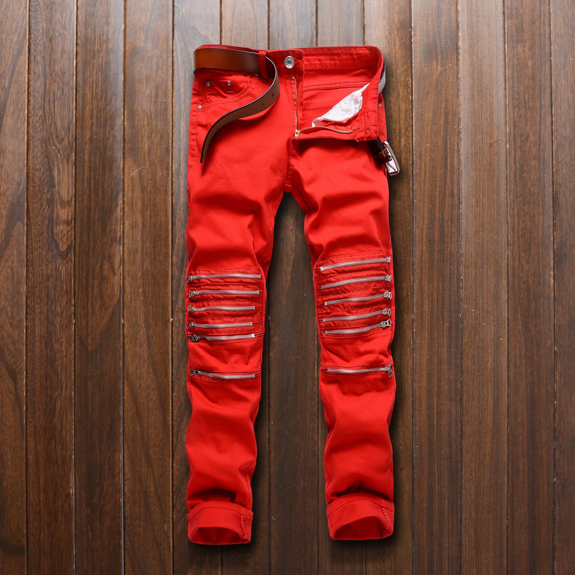 цены  Nightclub Men's Knee Zipper Straight Leg Red Multi-zipper Cut Shock Elastic Slim Denim Casual Big Size Biker Jeans