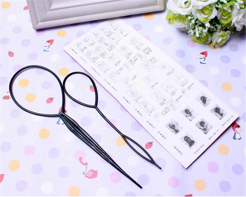2 шт. черный конский хвост Creator пластик петли Инструменты для укладки волос хвост клип оплетка Maker Инструмент укладки мода салон