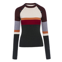 Sisjuly Autumn Winter Women Thick Patchwork Sweater Outerwear O Neck Full Sleeve Black Shopping Street Wear
