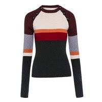 Sisjuly Otoño Invierno mujeres gruesas suéter patchwork abrigo o Masajeadores de cuello manga completa negro compras Street wear pullover Suéteres