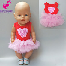 Dolls dress for 18 inch dolls pink lace dress for 43cm baby born doll clothes for doll baby girl new year gifts(China)